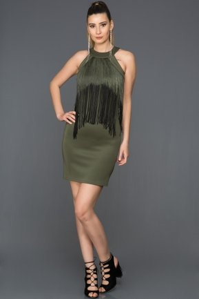 Short Olive Drab Evening Dress DS251