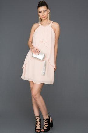 Short Salmon Evening Dress DS471