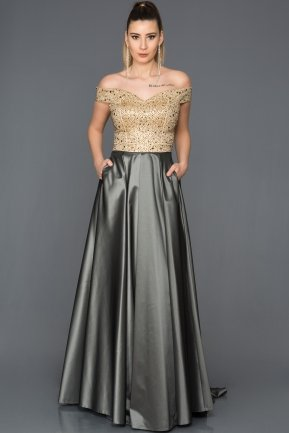 Long Antrasit-Gold Evening Dress GG6858