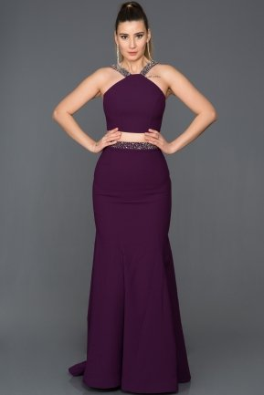 Long Violet Evening Dress ABU015