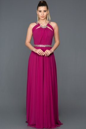 Long Cherry Colored Evening Dress GG6938