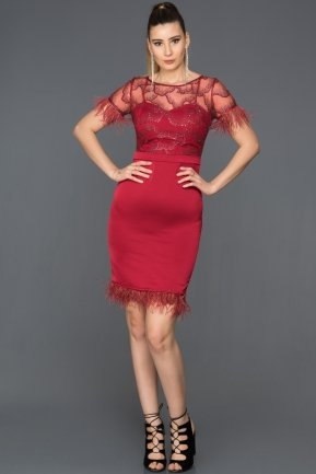 Short Burgundy Evening Dress AB98826