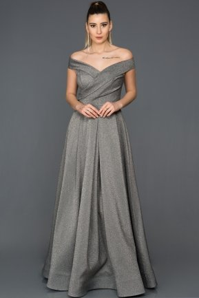 Long Silver Engagement Dress AB4550