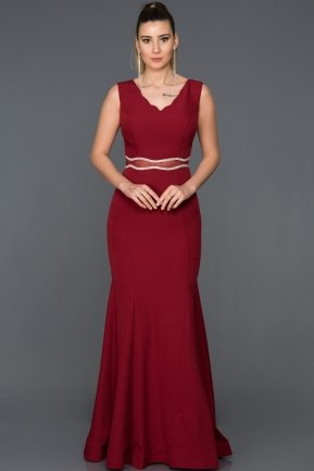 Long Burgundy Evening Dress W6047