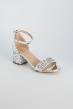 Silver Evening Shoes AB1005