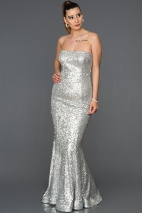 Long Silver Mermaid Prom Dress ABU232