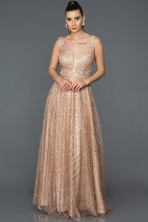Long Gold Engagement Dress AB4478