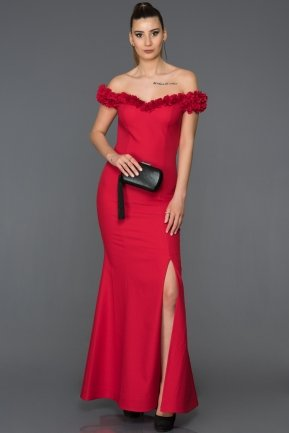 Long Red Mermaid Prom Dress AB6070
