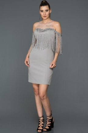 Short Grey Invitation Dress AB3112