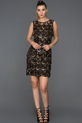 Short Black-Gold Evening Dress AB98832