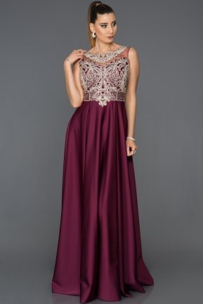 Long Plum Engagement Dress AB1568