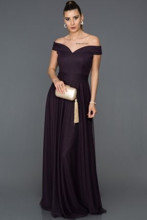 Long Dark Purple Evening Dress ABU020