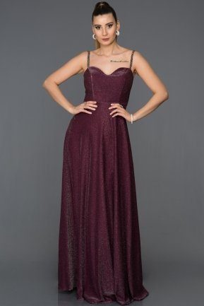 Long Plum Prom Gown AB3434