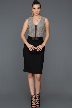 Short Black-Silver Invitation Dress ABK225