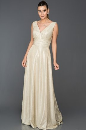 Long Gold Engagement Dress AB7528