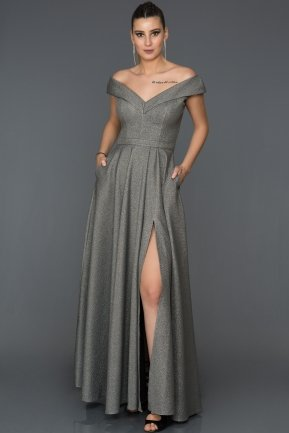 Long Grey Engagement Dress AB7532