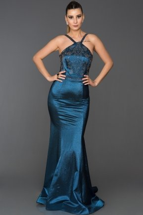 Long Sax Blue Mermaid Evening Dress AB2576