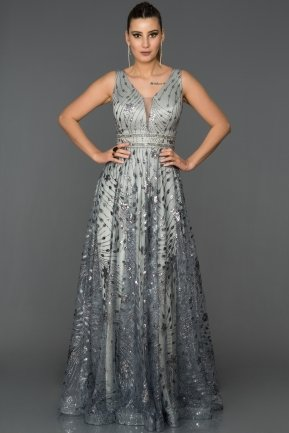 Long Grey Engagement Dress AB1559