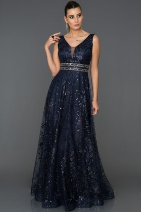 Long Navy Blue Engagement Dress AB1559