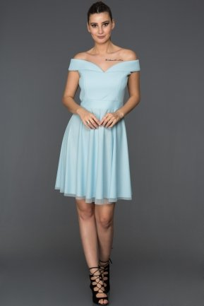 Short Ice Blue Invitation Dress ABK015