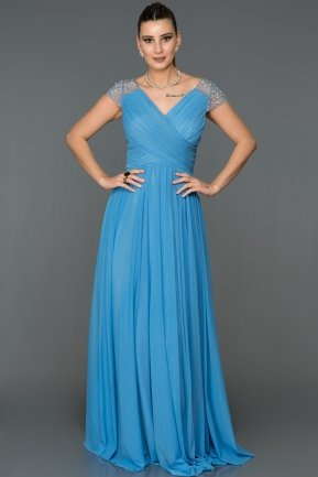 Long İndigo Evening Dress AB2608