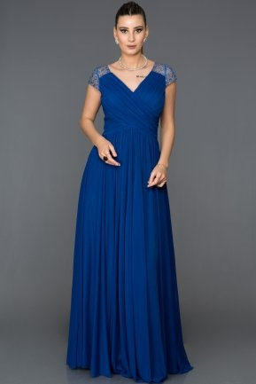 Long Sax Blue Evening Dress ABU025