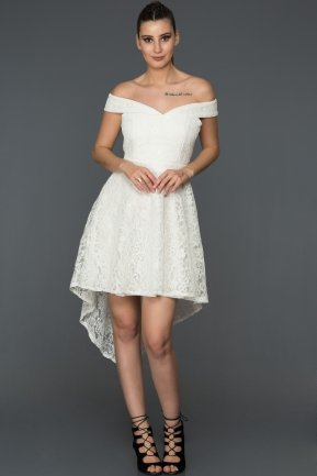 Front Short Back Long White Invitation Dress ABO003