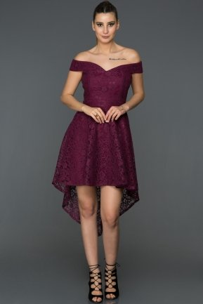 Front Short Back Long Plum Invitation Dress AB3450