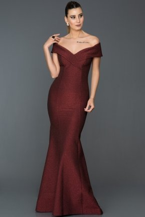Long Burgundy Mermaid Evening Dress AB7445
