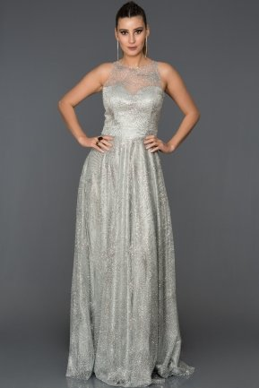 Long Silver Engagement Dress AB7477