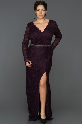 Long Plum Plus Size Evening Dress ABU016