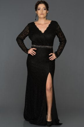 Long Black Plus Size Evening Dress ABU016
