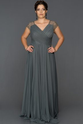 Long Antrasite Plus Size Evening Dress AB2608