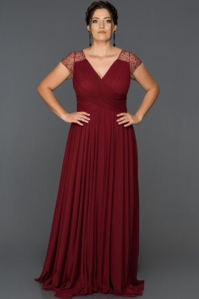 Long Burgundy Plus Size Evening Dress AB2608
