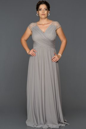 Long Grey Plus Size Evening Dress AB2608