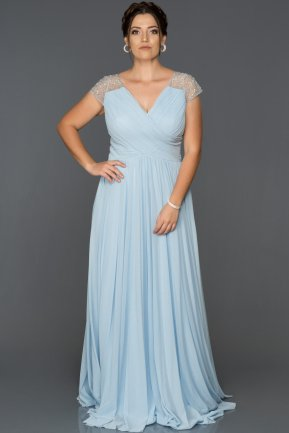 Long Blue Plus Size Evening Dress ABU025