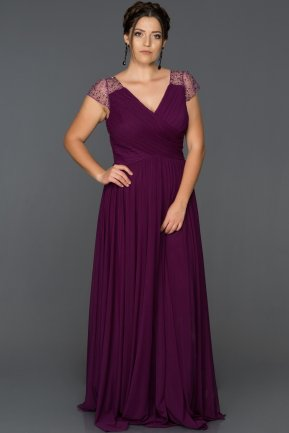 Long Purple Plus Size Evening Dress AB2608