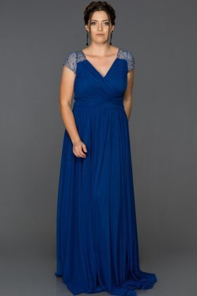 Long Sax Blue Plus Size Evening Dress AB2608