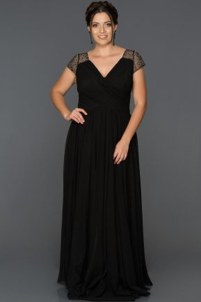 Long Black Plus Size Evening Dress ABU025