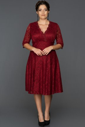 Short Burgundy Plus Size Evening Dress AB3109