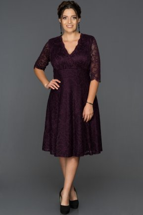 Short Plum Plus Size Evening Dress ABK014