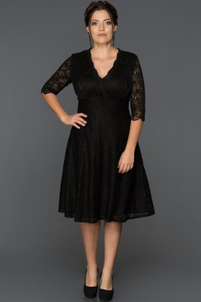 Short Black Plus Size Evening Dress ABK014