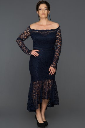 Front Short Back Long Navy Blue Oversized Evening Dress AB1007