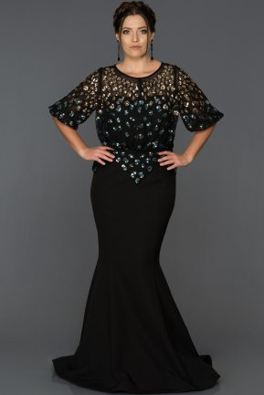 Long Black Plus Size Evening Dress ABU222