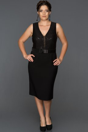 Short Black Oversized Evening Dress ABK287