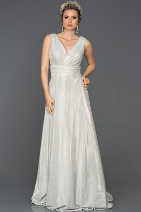 Long Silver Engagement Dress AB7528