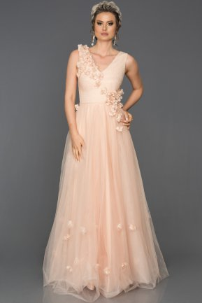 Long Salmon Engagement Dress AB350