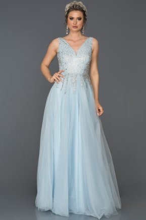 Long Blue Engagement Dress ABU108