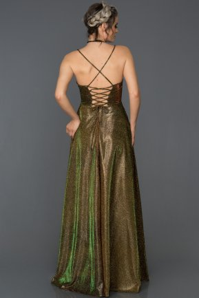 Long Gold Prom Gown ABU168