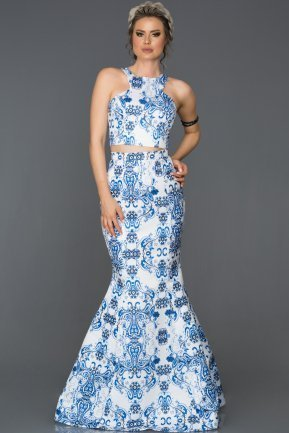 Long Blue Mermaid Prom Dress AB1005